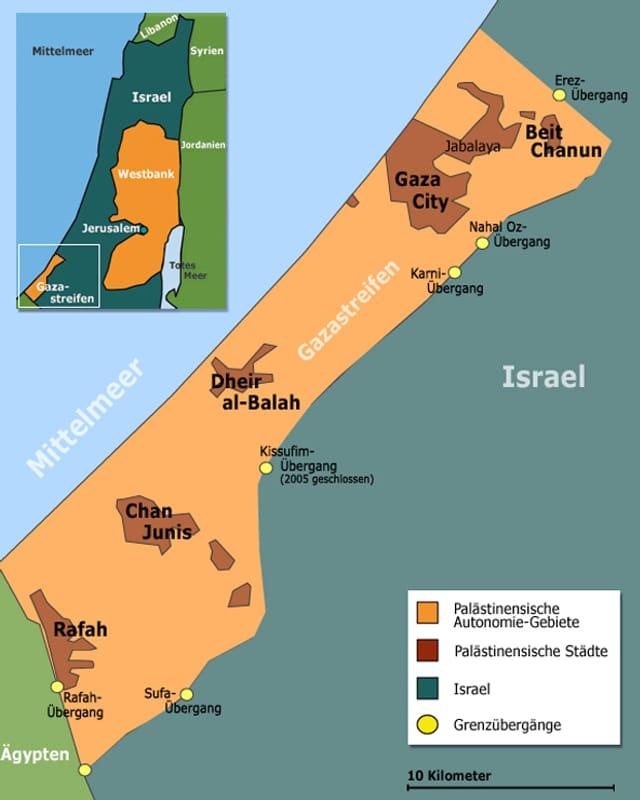 Karte des Gazastreifens