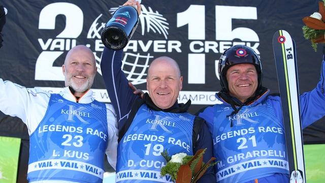 Podest mit Lasse Kjus, Didier Cuche und Marc Girardelli.