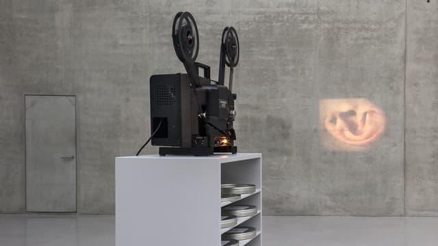 Ein schwarzer Filmprojektor steht auf einem grauen Schrank. Auf eine Betonwand wird ein Bild projiziert.