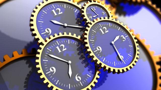 verschiedene Uhren dargestellt in einem Uhrwerk.
