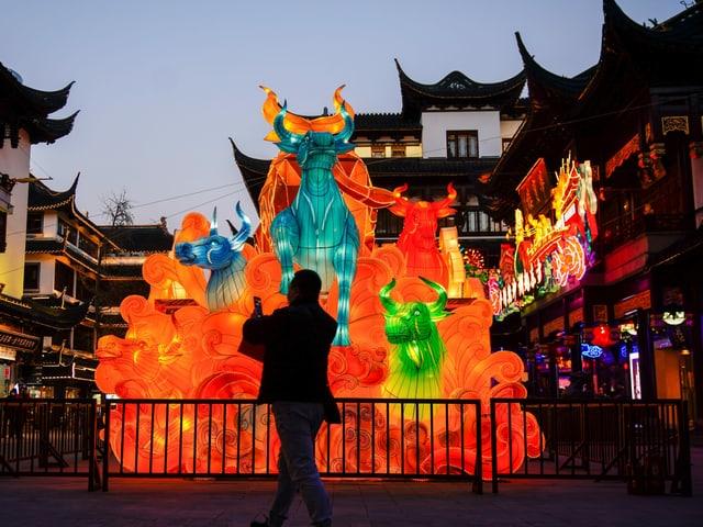 Ein Mann fotografiert eine Leuchtinstallation in Form eines Stiers