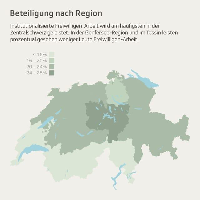 Eine Karte der Schweiz. Die Zentralschweiz ist dunkelgrün eingefärbt.