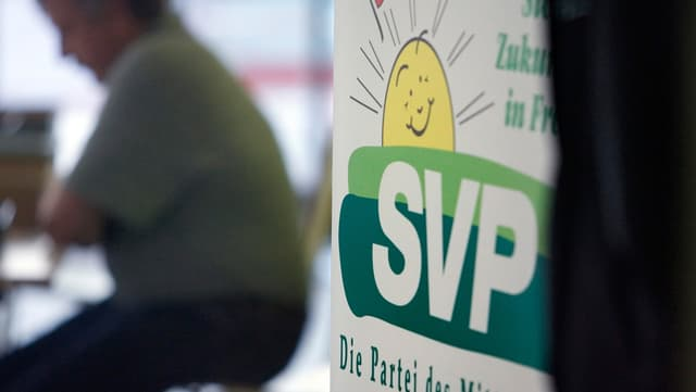 """Plakat mit Aufschrift """"SVP"""""""