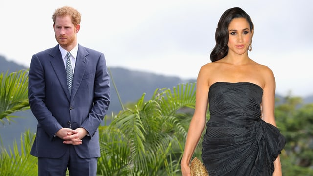Prinz Harry und Meghan Markle vor Palmen stehend (Bildmontage)