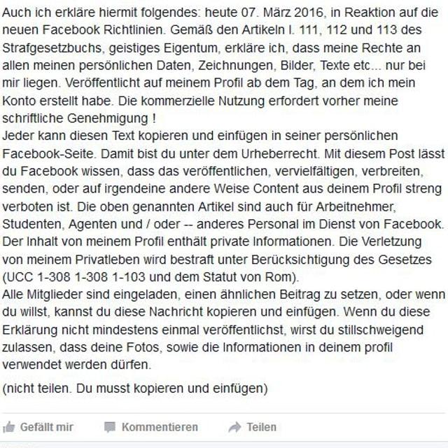 Screenshot da la brev da chadaina sco post sin Facebook