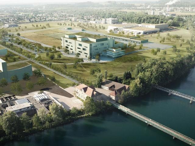 Fluss und Fabrik von oben, Visualisierung