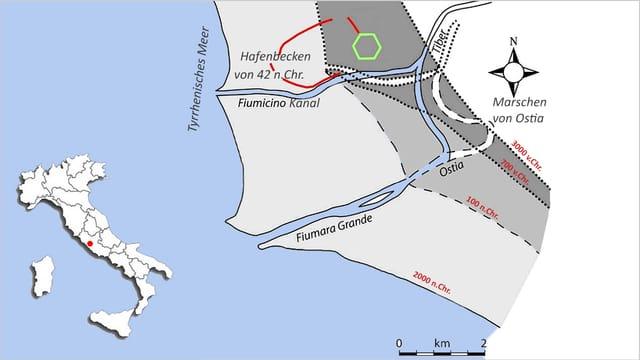 Eine Karte zeigt die verschiedenen Stufen der Verlandung um die Mündung des Tibers.