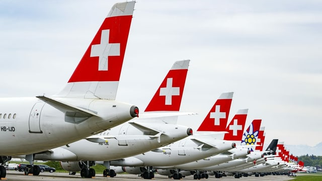 Swissflugzeuge stehen am Boden nebeneinander, es sind nur die Hinterteile zu sehen.