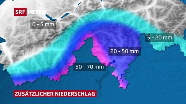 Karte mit zusätzlichen Niederschlagssummen auf der Alpensüdseite