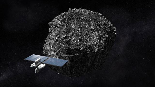 Grafik: Ein Raumschiff hält einen Asteroiden mit Seilen umfasst.