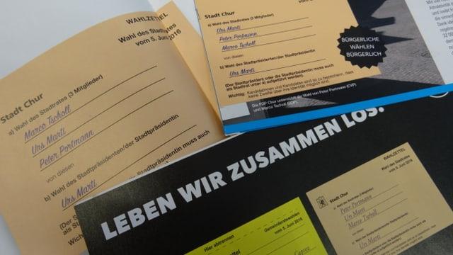 recumandaziun d'eleger en las broschuras per il cumbat electoral da la PBD, PCD e PLD
