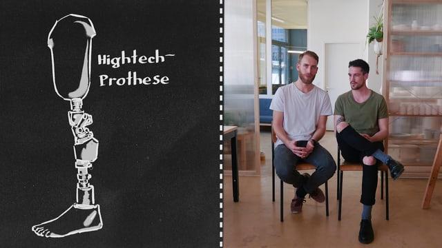 Eine Skizze einer Hightech-Prothese mit Splitscreen auf zwei sitzende Männer
