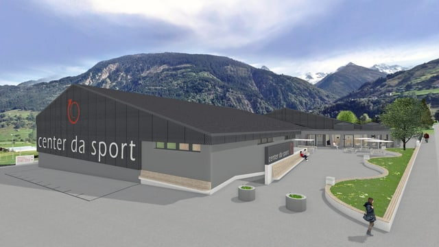 Visualisaziun dal nov Center da sport e cultura a Mustér.