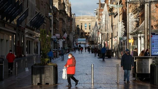 Die Buchanan Street in Glasgow am 05. Januar 2021, dem ersten Tag im Lockdown.