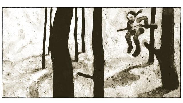 Zeichnung: Bäume, eine Person mit Gewehr springt von einem Ast