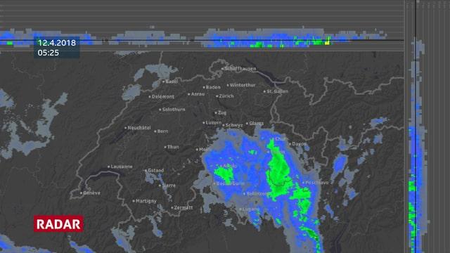 Ein Radarbild zeigt Niederschlag im Tessin und in grossen Teilen des Kantons Graubünden.