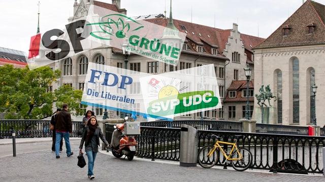 Zürcher Stadthaus mit Parteienlogos.
