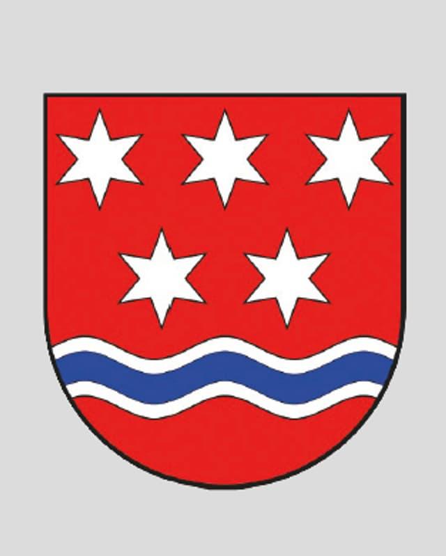Wappen mit fünf Sternen und einem stilisierten Fluss