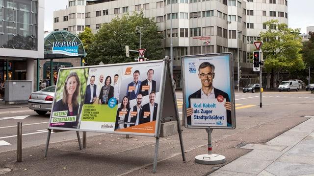 Wahlplakaten in Zug