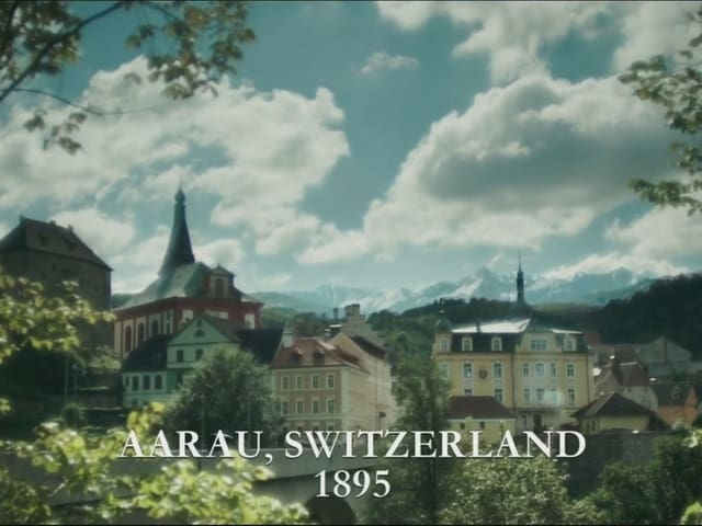 Eine Stadt, dahinter ein Alpenpanorama.