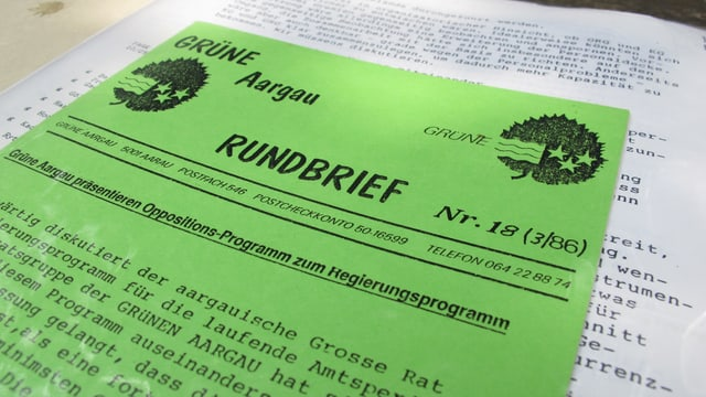 Blick auf einen Rundbrief der Grünen Partei von 1986: Sie präsentiert ein Oppositionsprogramm.