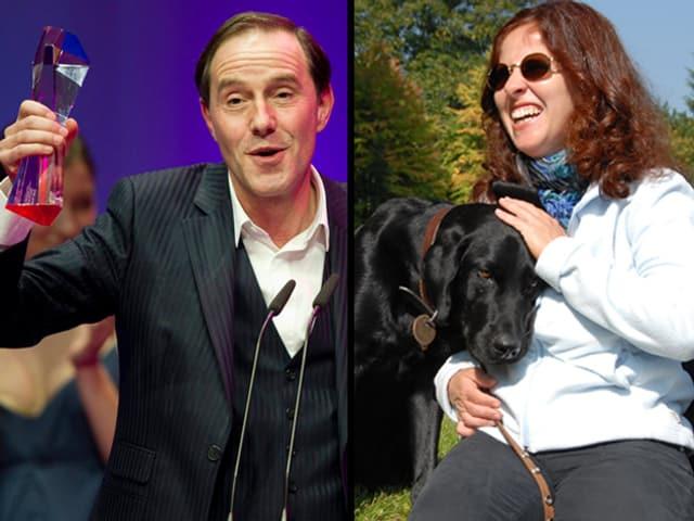 Stefan Kurt und Giuseppina Barone mit Führhund im Porträt.