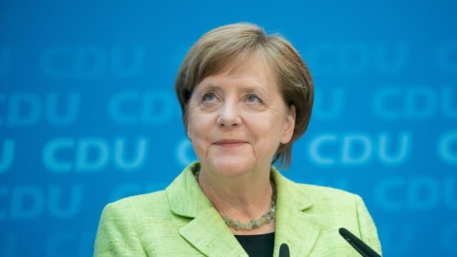 Auf dem Bild ist die deutsche Bundeskanzlerin Angela Merkel zu sehen.