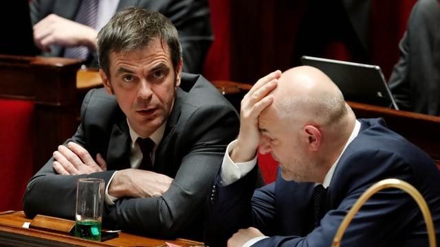 Gesundheitsminister Olivier Véran und Renten-Staatssekretär Laurent Pietraszewski.