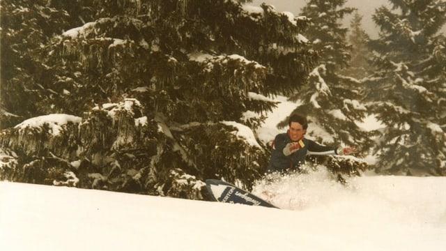 Bernhard Kobel beim Snowboarden