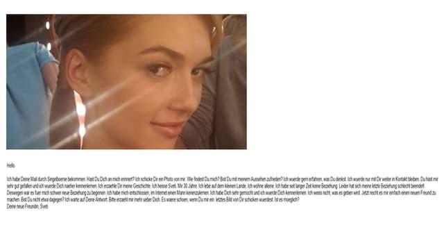 Mailtext und Foto einer jungen Frau.