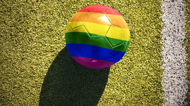Ein Fussball in Regenbogenfarben liegt auf einem Fussballplatz.