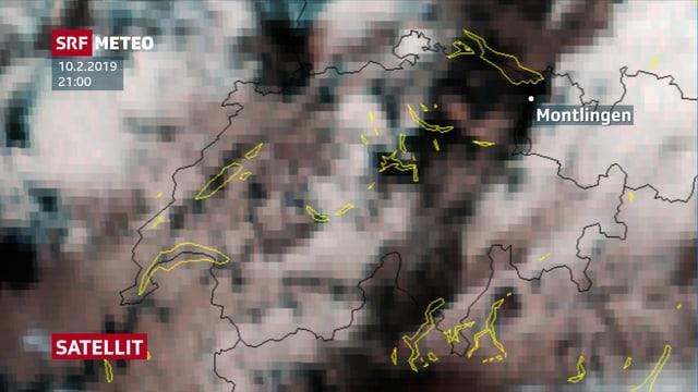 Satellitenbild über der Schweiz von Sonntagabend.