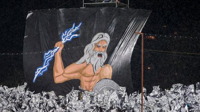 FCL-Choreografie: Grosse Zeichnung von Mann mit weissen Haaren und Bart und Schild in der Hand.