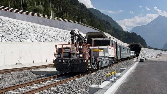 Der Zug beim Nordportal in Erstfeld.