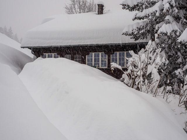 Verschneites Holzhaus