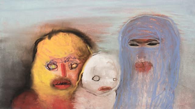 Drei Figuren von tierischer ANmutung: Gemälde der Schweizer Künstlerin Miriam Cahn.