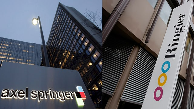 Logos vor den Hauptsitzen in der Schweiz.