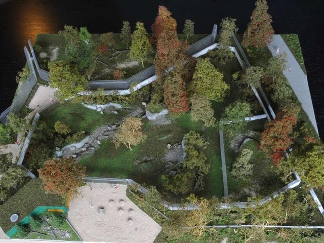 Das neue Wolfsgehege vom Berner Tierpark Dählhölzli als Modell.