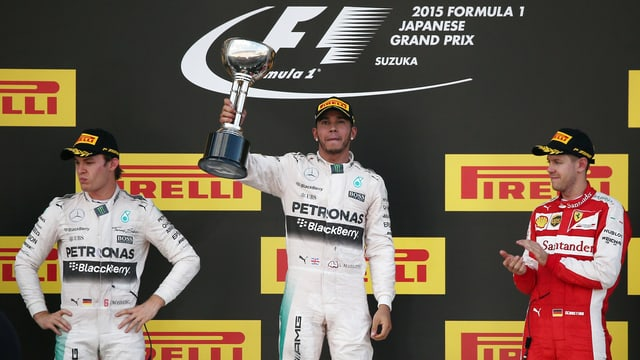podest cun ils pilots da furmla 1 Rosberg, Hamilton, Vettel