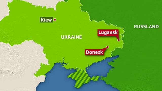 Karte der Ukraine mit Kiew, Donezk und Lugansk eingezeichnet.