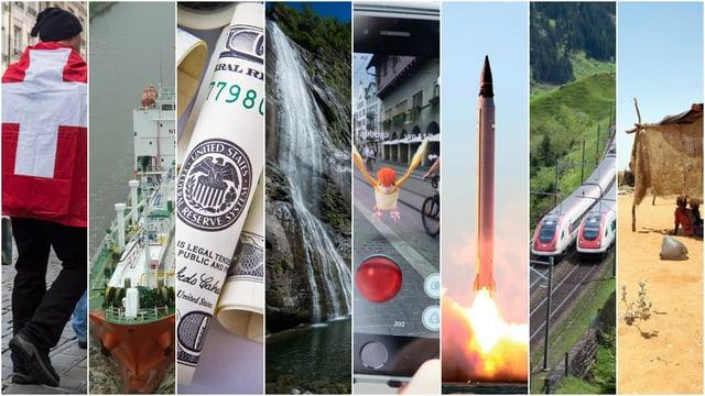 Collage von mehren Bildern, darunter eine Schweizer Flagge, eine Dollar-Note oder ein Wasserfall.