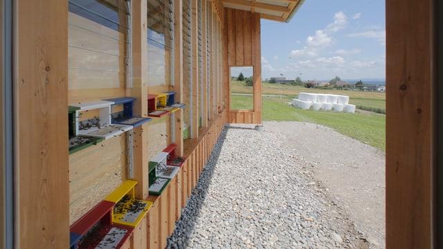 Ein Holzhaus mit Bienenkasten. Im Hintergrund sieht man ein Feld mit Heuballen.