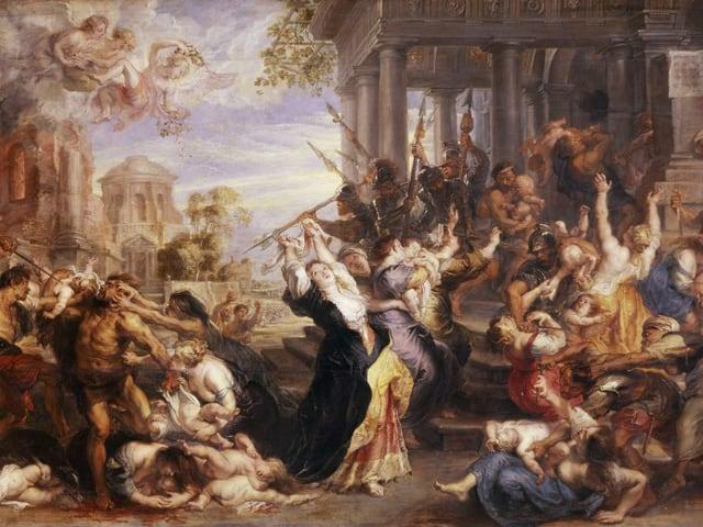 Ein Ölgemälde zeigt viele Menschen und Kinder, die sich gegenseitig bekämpfen, vor antiker Kulisse.