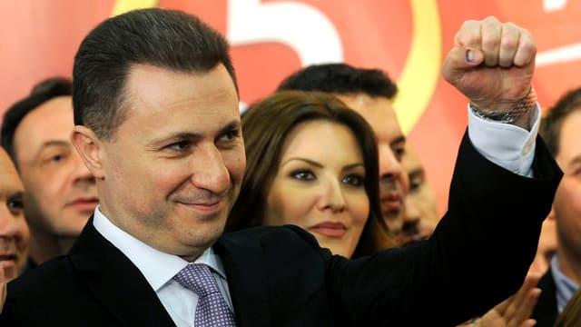 Ministerpräsident Nikola Gruevski bei seinem Wahlsieg 2014.