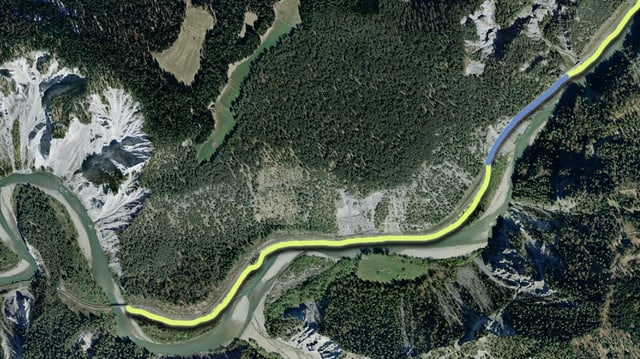 Senda da viandar planisada cun tunnel da peduns en la Ruinaulta.
