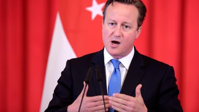 Aufnahme des britischen Premiers David Cameron an einer Medienkonferenz in Singapur.