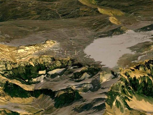Visualisierung: Luftaufnahme mit Blick auf Glescher und sechs Windräder.