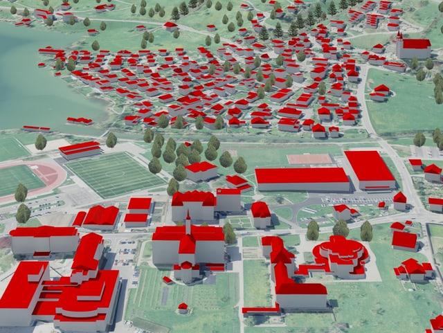 Ein 3-D-Modell eines Dorfes. Alle Dächer sind rot.