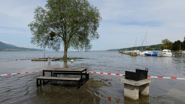 Ein Picknick-Platz unter Wasser.