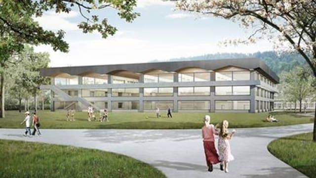 Visualisierung des geplanten Schulhauses in Neuhegi.